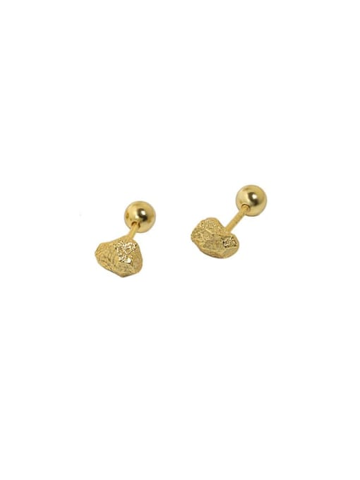18K gold [4mm Round Bead ear plug] 925 Sterling Silver Irregular Vintage Stud Earring